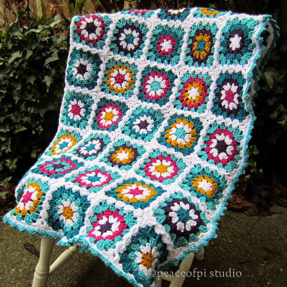 Crocheting Grandma : Crochet Granny Square Flower Afghan