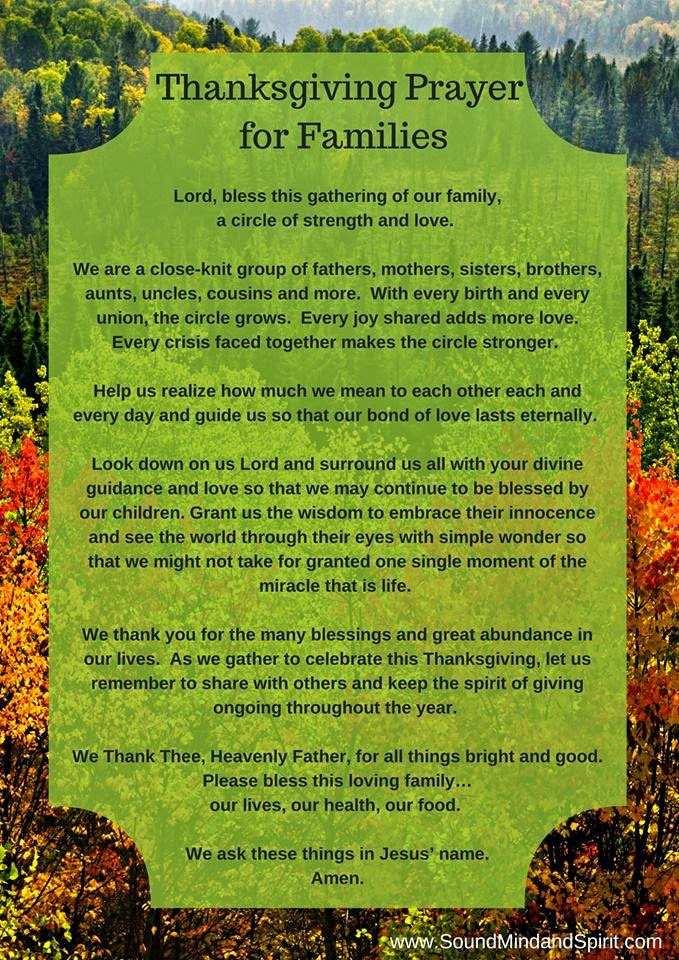 Of Sound Mind and Spirit - Thanksgiving Prayer for Families