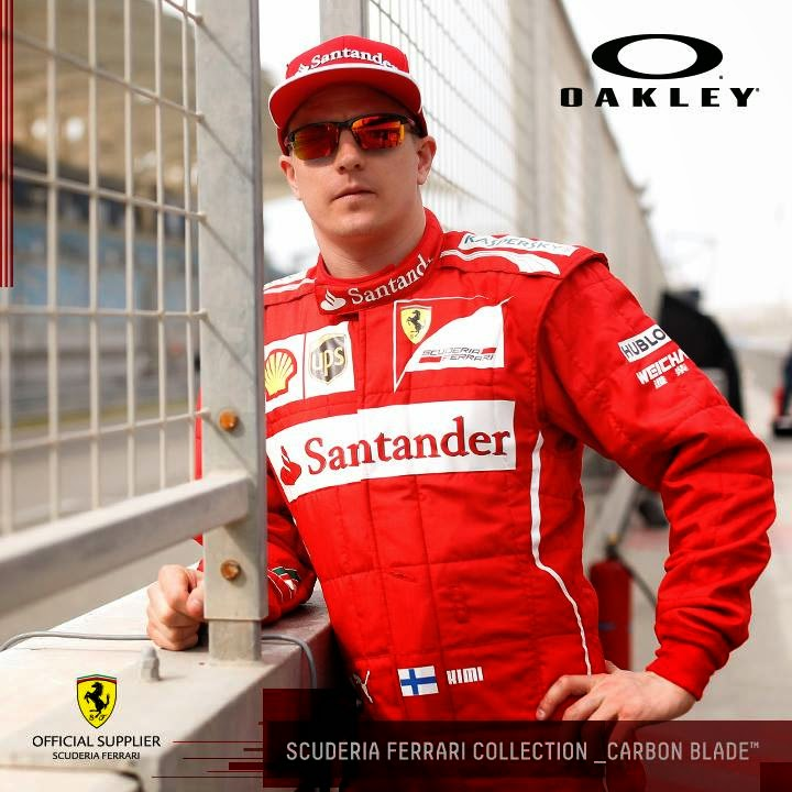 Kimi Raikkonen wearing Special Edition Oakley Scuderia Ferrari Carbon Blade Sunglasses