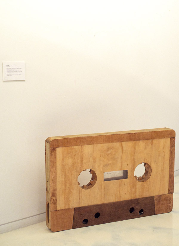'A Good mix' Cassette tape wooden sculpture by Mirko Sossai; Fringe Arts at The Forum