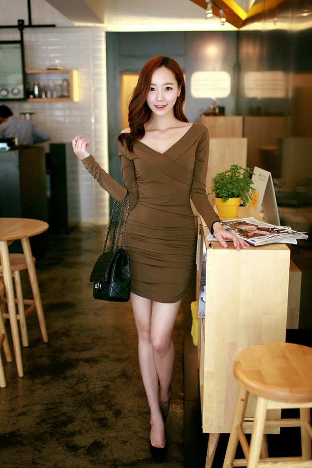 Baju: Dress Cross Collar Coklat