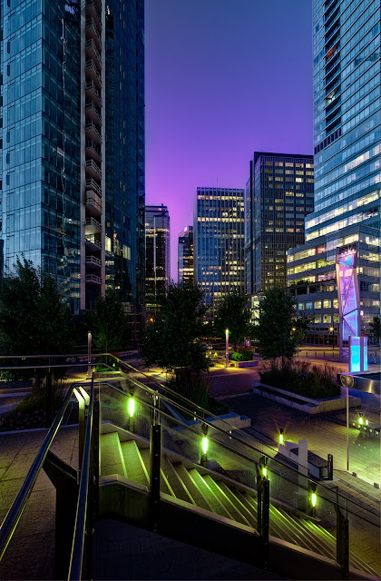 HDR,architecture,blue hour,skyscraper,vancouver,downtown,tilt,shift