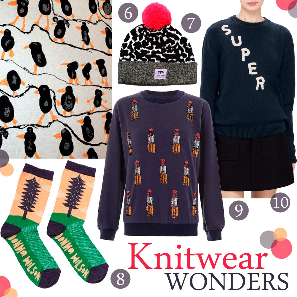 Top 10, Top ten, Knitwear, We are Rushworth penguin blanket, Lazy Oaf Bobble hat, House of Holland lipstick sweater, And Other Stories Super