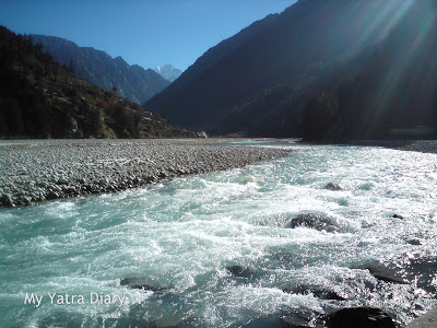 River Ganga at Harsil in the Garhwal Himalayas in Uttarakhand