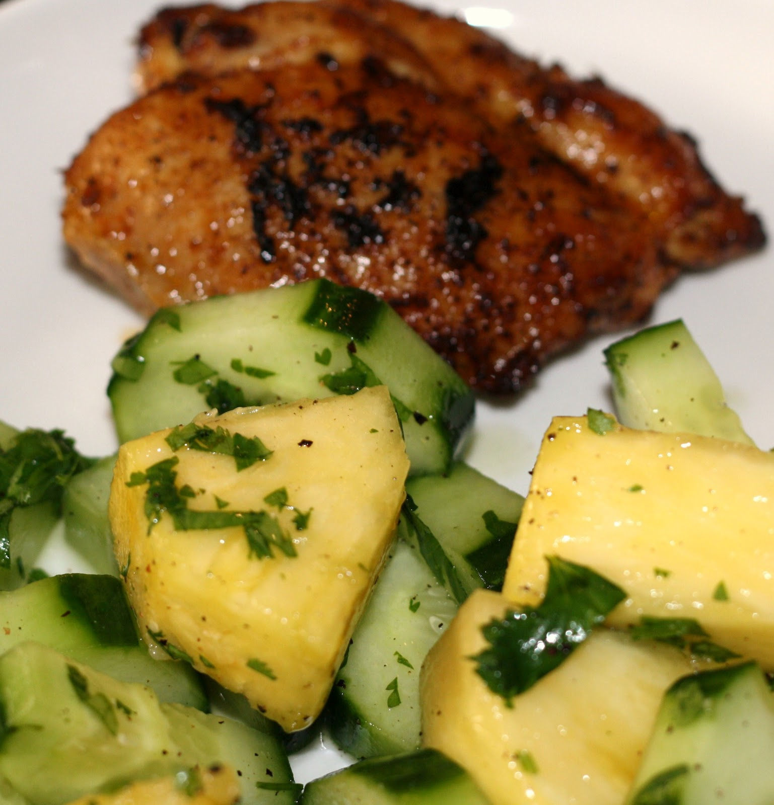... ?: chili-lime chicken with pineapple-cucumber salad... 25 minutes