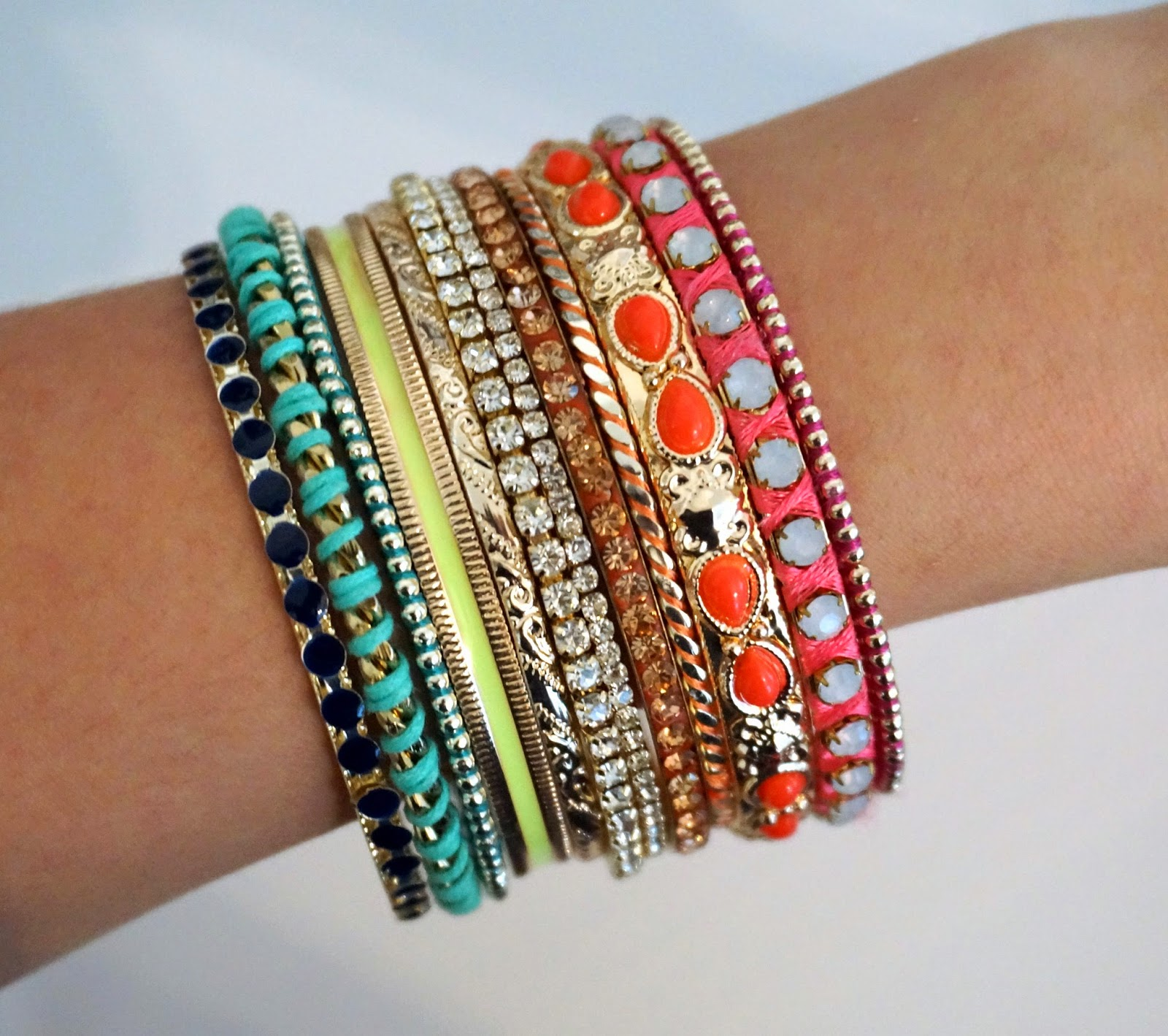 multicoloured bracelets