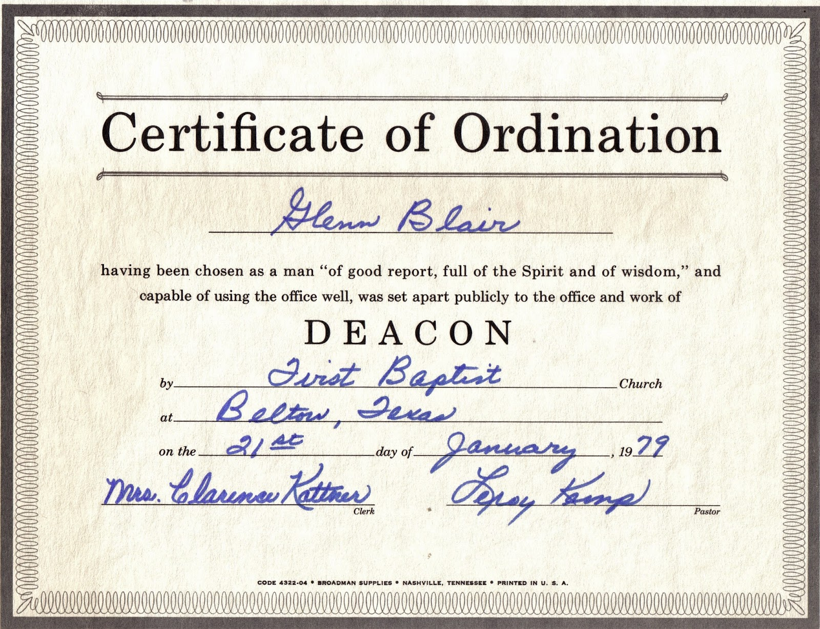 The family history of billy blair robert glenn wanda jeannine digby blair life story hill for Deacon ordination certificate