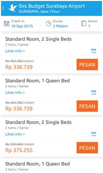 Gambar: Daftar pilihan kamar yang tersedia di Hotel ibis budget Surabaya Airport