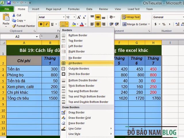 Hướng dẫn cách kẻ bảng trong Excel