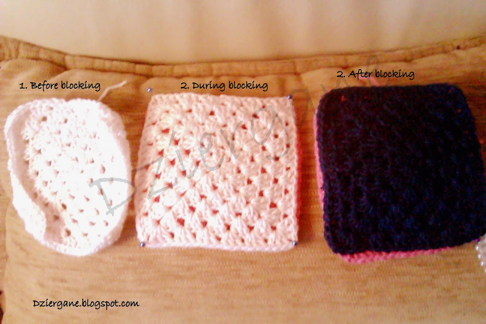 Easy way to blocking crochet squares