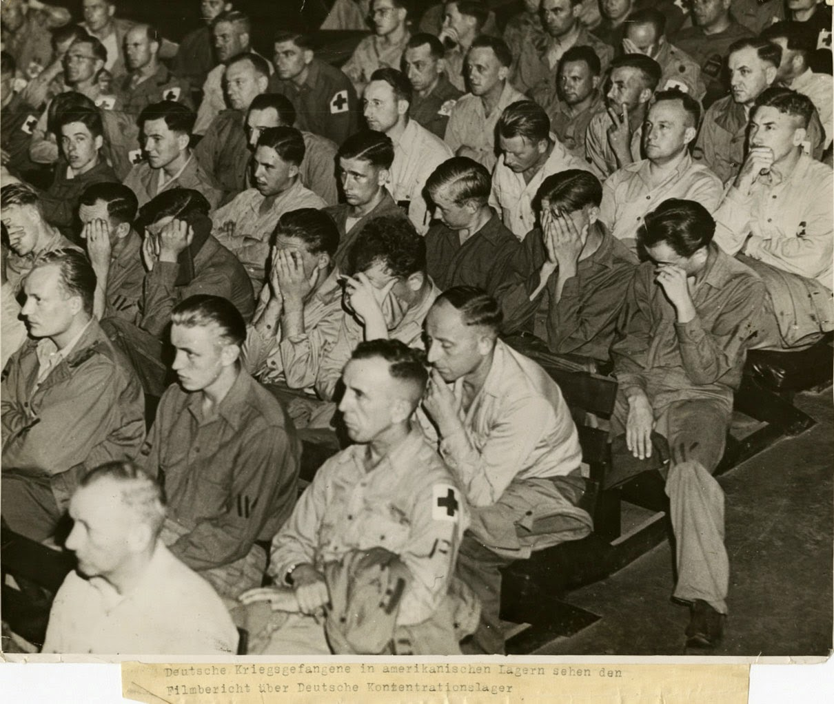 German soldiers react to footage of concentration camps 1945