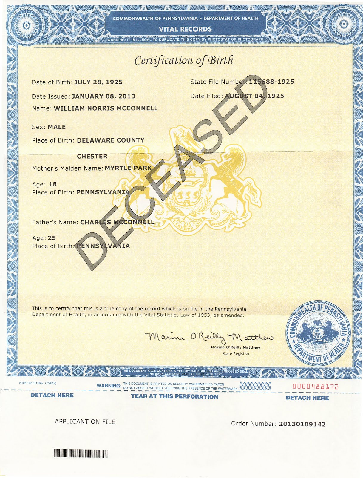 The green genealogist finally the state of pa comes through birth certificate 1925 aiddatafo Images