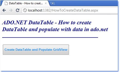 How to create a datatable in c for Html datatable