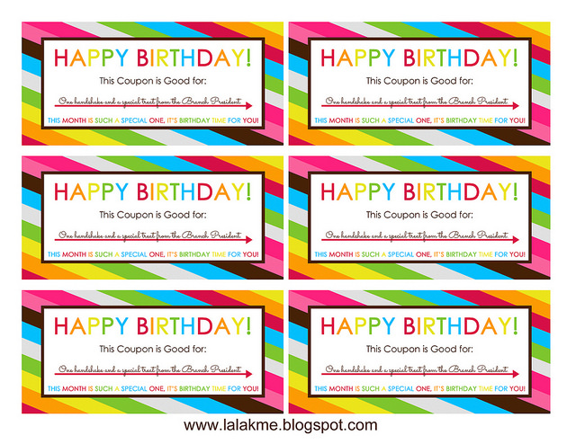Charming I Made Sure To Write A Personal Message To Each Of Them On The Back, As  Well. (Even Though They Were Both Children Of The Branch President Himself,  ...  Birthday Coupon Templates Free Printable