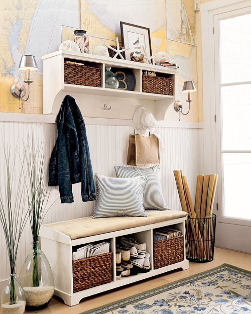 Anyone can decorate great mud rooms and organized entry spaces Entryway bench and shelf