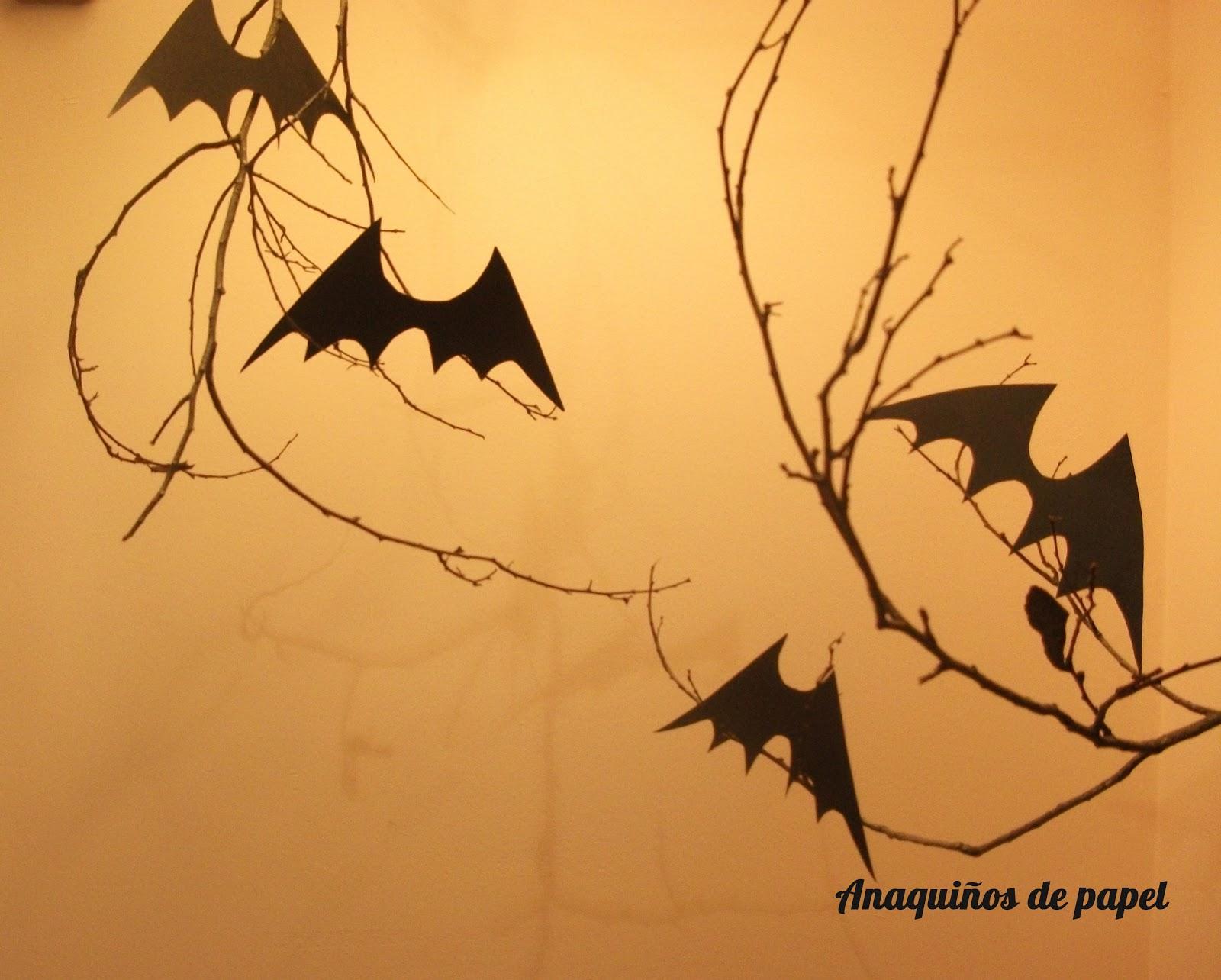 Anaqui os de papel murci lagos para halloween - Murcielagos para halloween ...