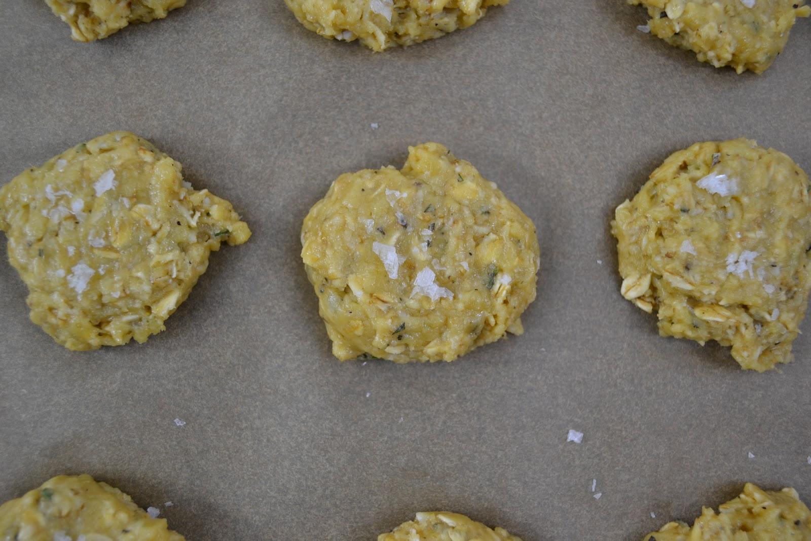 Savory Oatmeal Cookies (makes 18 cookies)