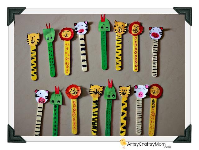 Ice cream Stick Animal Bookmarks
