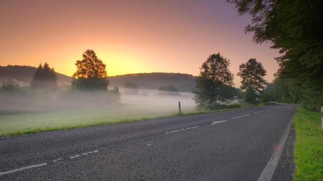 Sunrise road morning mist HD Wallpaper