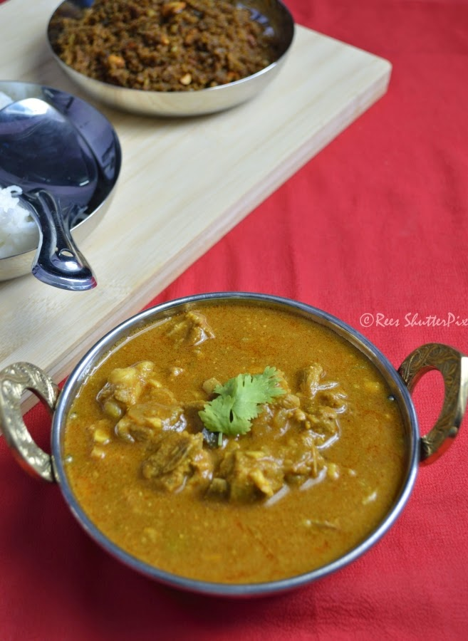 how to make chettinad mutton kuhambu at home for rice,chappathi, easy mutton gravy