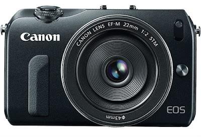 Fotografia della Canon EOS-M vista di fronte