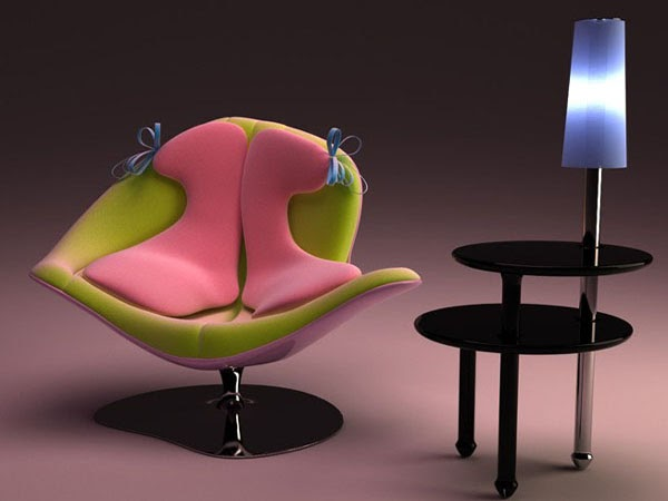 Beautiful chair with a combination of pink and green - Combination of green and pink ...