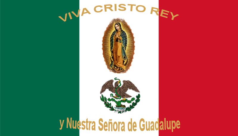 La Bandera de Mexico ensuciada por seres imaginarios (Virgen de Guadalupe y Cristo), segun los creyentes, era la Bandera del movimiento cristero | Ximinia