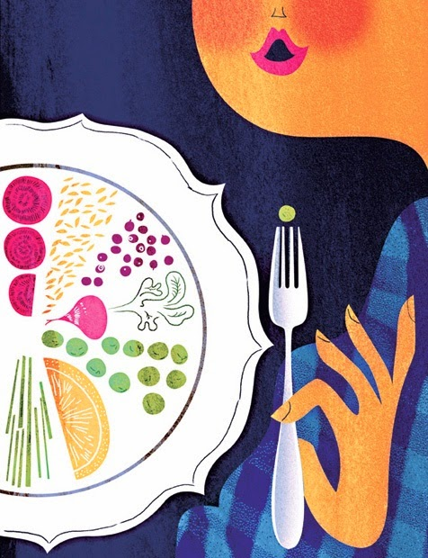 eating diet food illustration by Sanna Mander