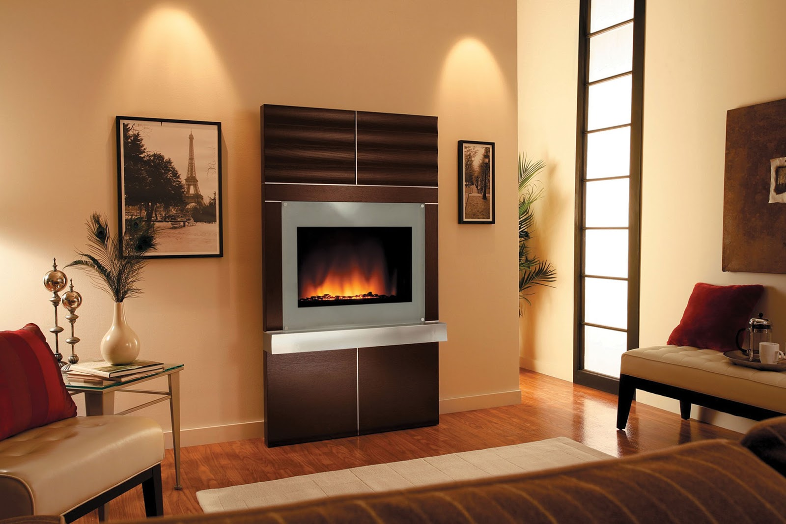 T v wall unit design Living room design ideas with fireplace