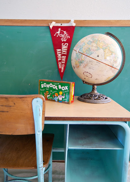 School Desk and Chair Makeover - aqua school desk, globe, pennant, chalkboard