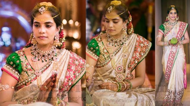 Bride with Crystallized Silk Saree