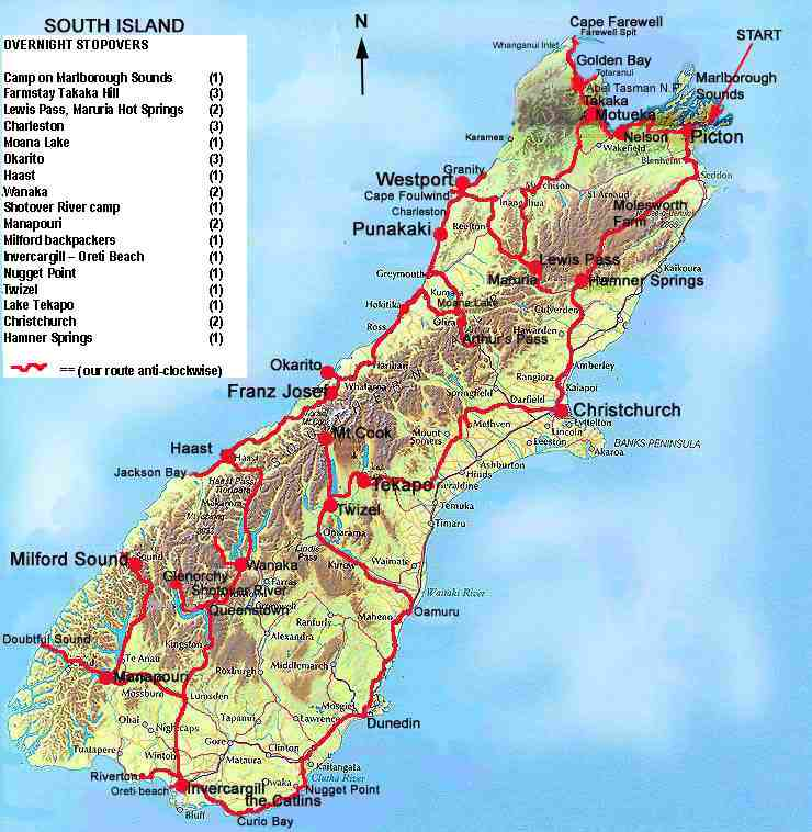 South Island New Zealand Touring Map