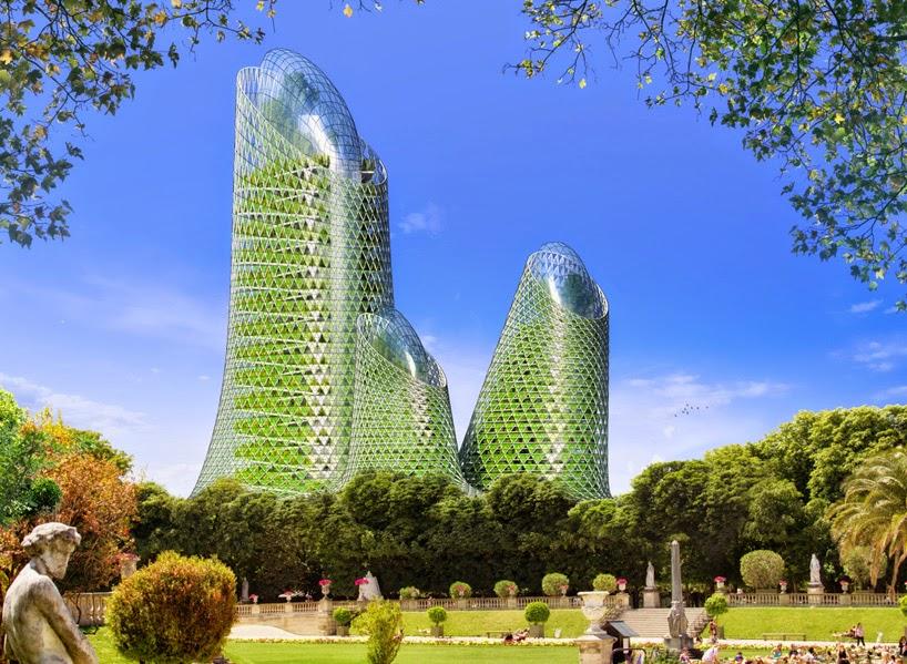 Proyecto Futurista en Paris, Ciudades Inteligentes, Edificios Verdes, Torres FOTOSINTESIS