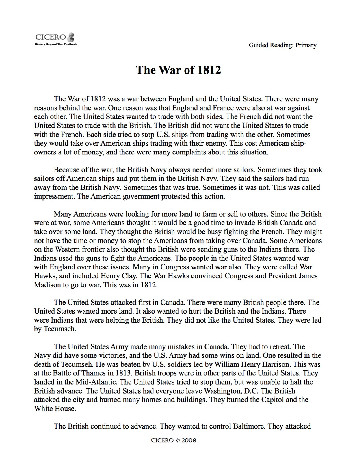 An essay on war of 1812