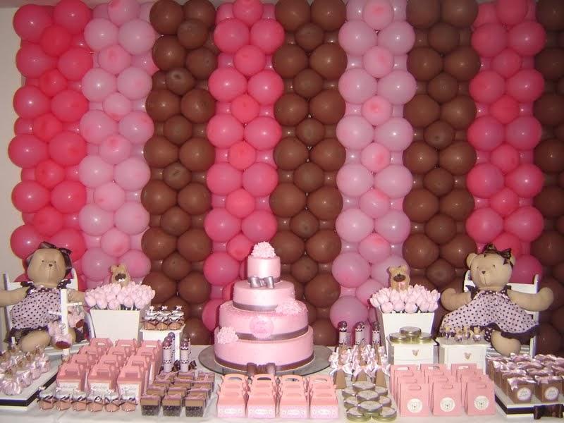 Decoração Festa Infantil Provençal Ursinho Rosa e Marrom
