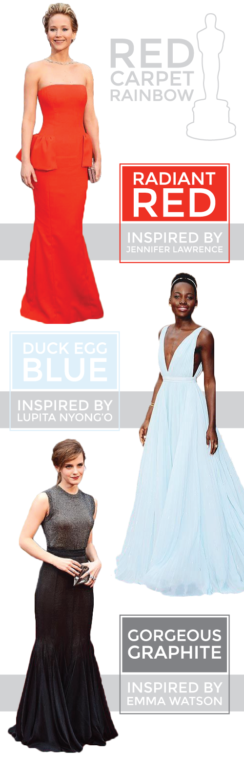 red carpet rainbow: radiant red, duck egg blue + gorgeous graphite.