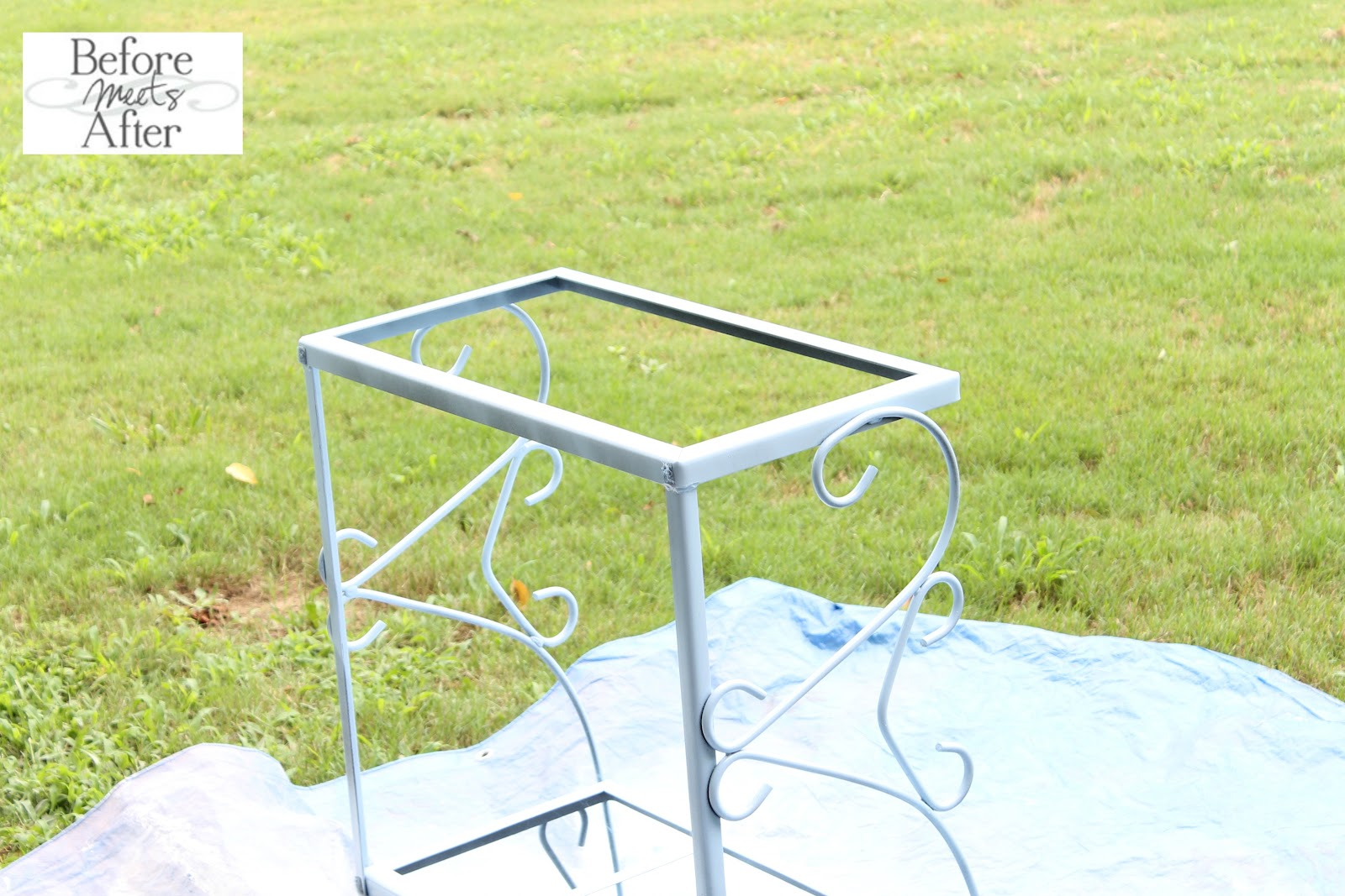 Before Meets After: Metal outdoor table top