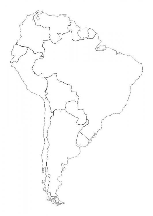 Mapa de america del sur para colorear - Imagui