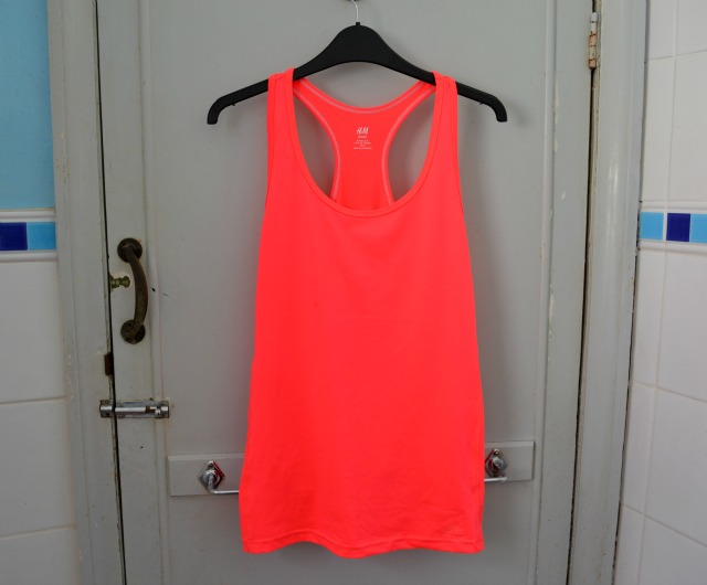 h&m neon orange sportwear top