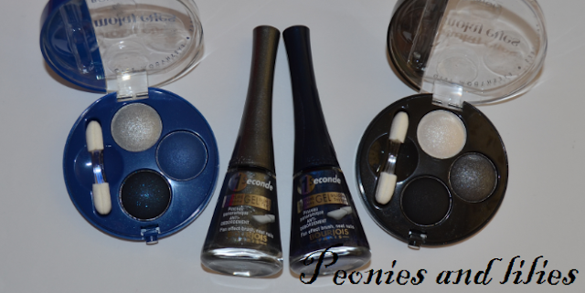 Bourjois Paris Blue Moonlight collection, Bourjois 1 seconde nail enamel in Gris nightomic, Bourjois 1 seconde nail enamel Bleu moonlight, Bourjois Smokey eye trio in Bleu nuit, Bourjois smokey eye trio in Gris party, Party make up, NYE make up