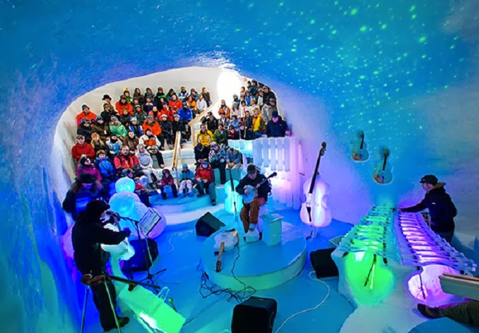 """The Ice Music orchestra plays in a giant """"cosmic igloo,"""" that glows and pulsates along with the music."""