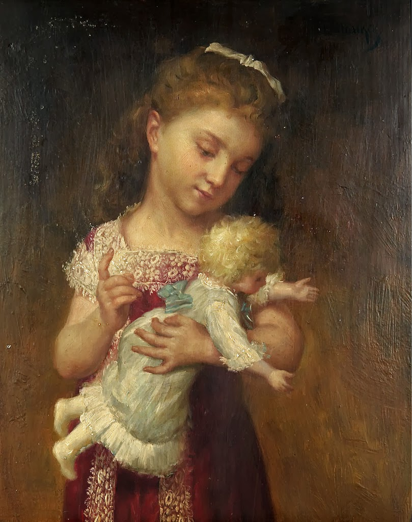Young girl holding a doll emily farmer the doll