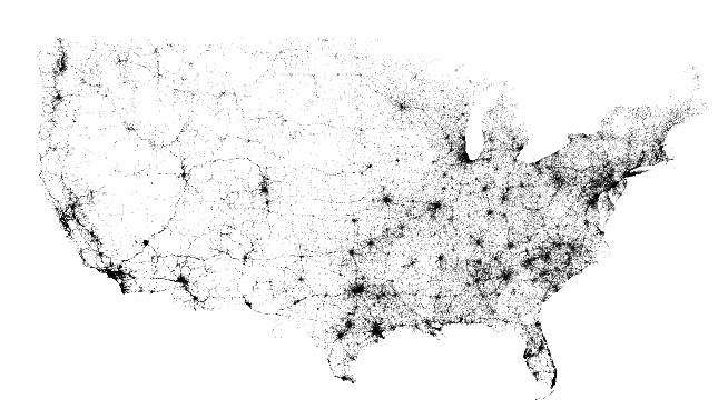 Map of every fatal speeding-related accident in the US (2004-2013)
