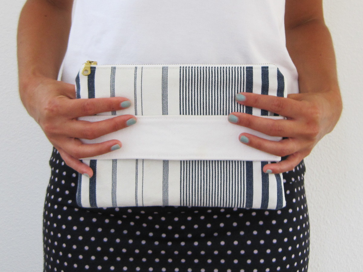 Striped Denim Clutch: sewing tutorial | She's Got the Notion
