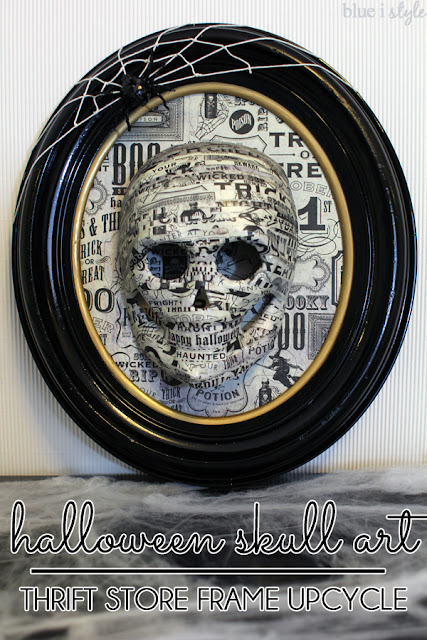 Thrift Store Frame Upcycled to Halloween Skull Art