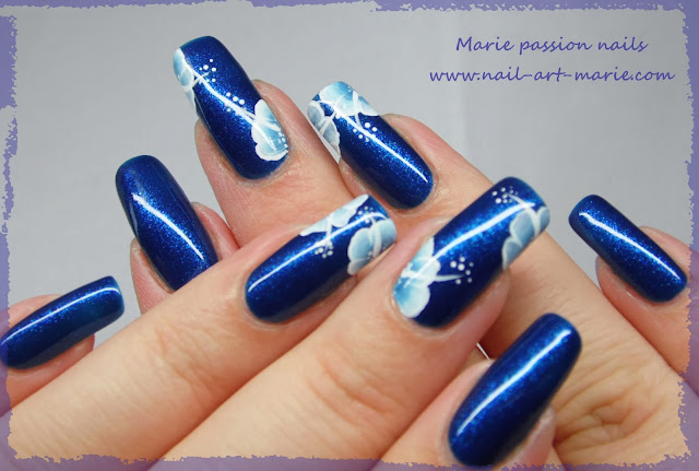 nail art one stroke double accent nail5