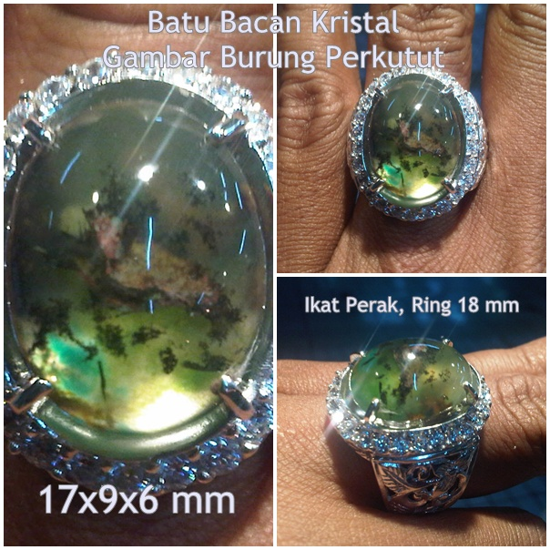 BC90- SOLD - Batu Bacan Kristal Gambar Burung Perkutut - Antik!!!