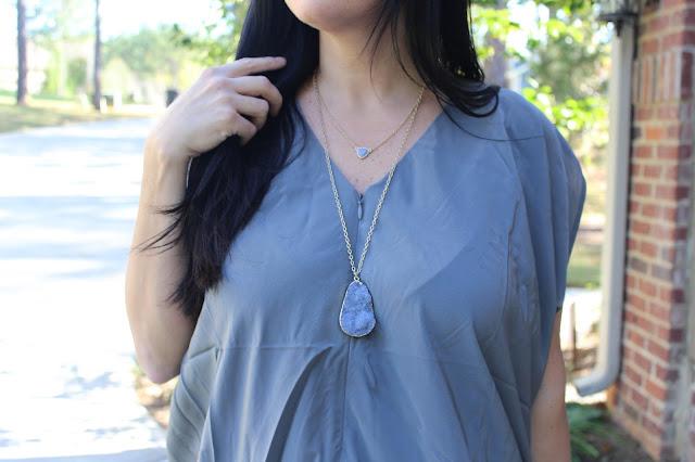 grey druzy layered necklace
