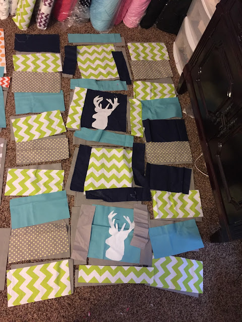 How to lay out a rag quilt and do raw edge applique for deer stag head