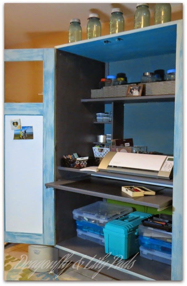 The inside of the completed craft cabinet, Blue Mason Jars, Storage, Silhouette Cameo